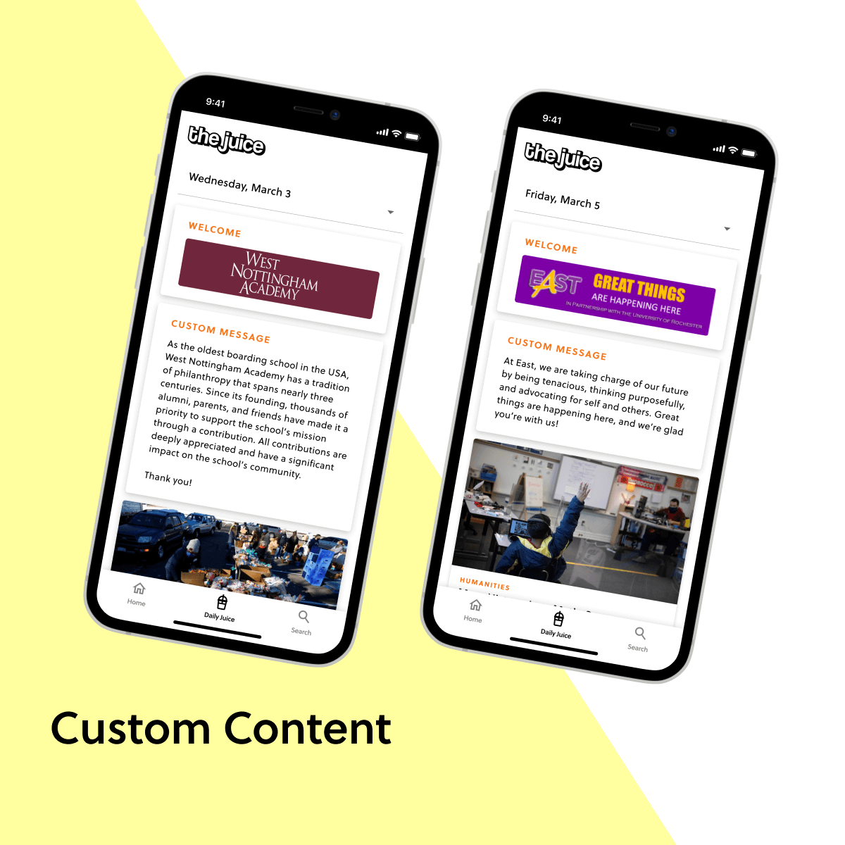 Teachers can customize The Juice from their portal. They can announce upcoming events, celebrate achievements, add unique content, and even make money by selling sponsorships to local businesses.